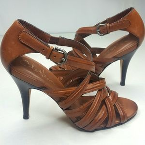 Cole Haan Brown Leather Caged Strappy Heel Sz 7B